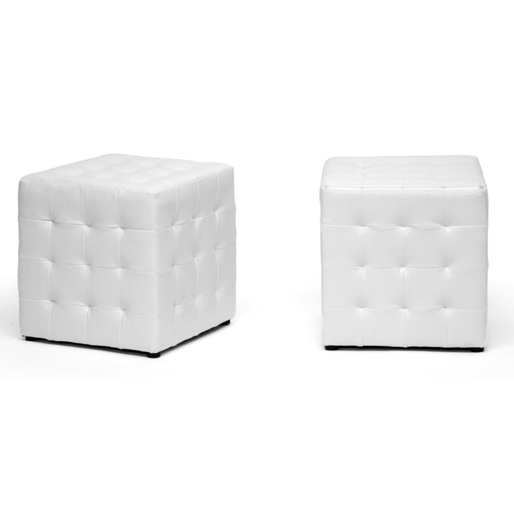 White Poof Ottomans